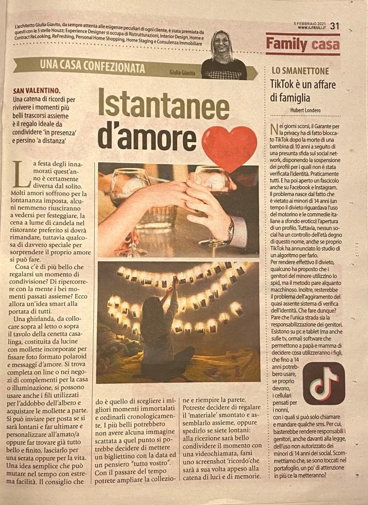 articolo pubblicato su Il Friuli del 5 febbraio 2021, una casa confezionata, Istantanee d'amore, San Valentino Giulia Giavito architetto home stager