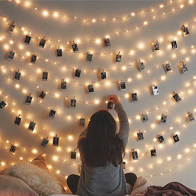 lightinthebox.com   polaroid appese al muro con ghirlanda illuminata lucine